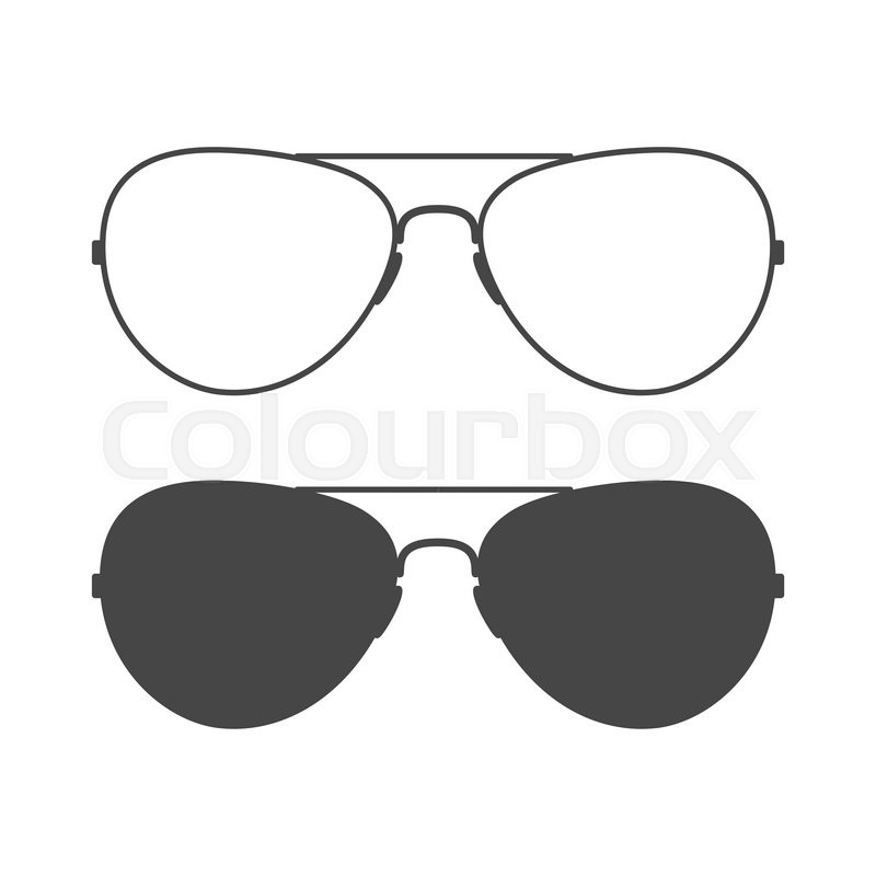 Eyeglass Frame Vector : Aviator sunglasses. Sunglasses icon. Outline and solid ...