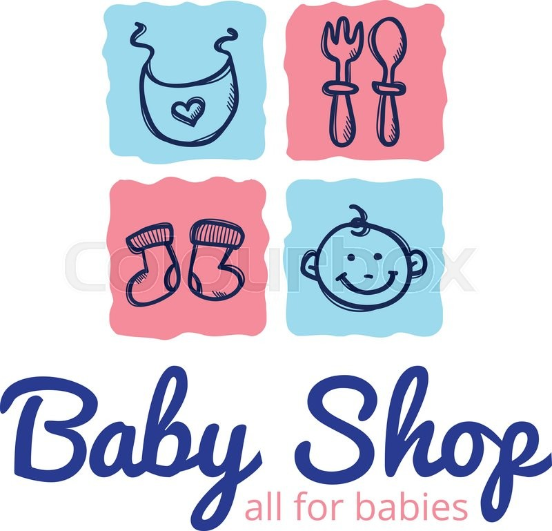 Vector Cute Baby Shop Logo Doodle Style Kids Store