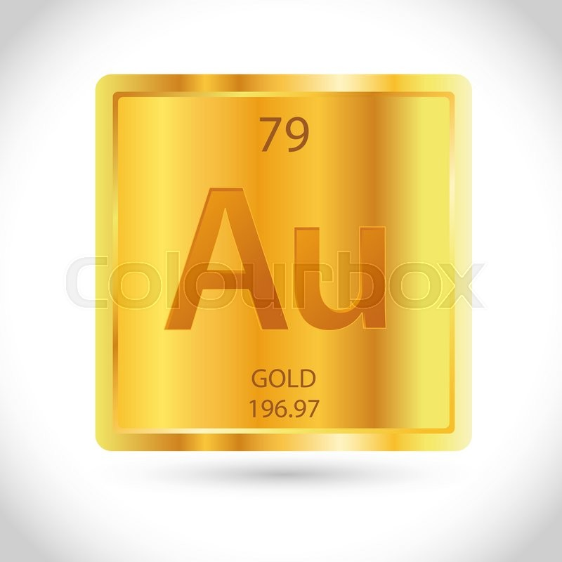 Vector Stock Of Golden Square With Gold Chemical Element Symbol