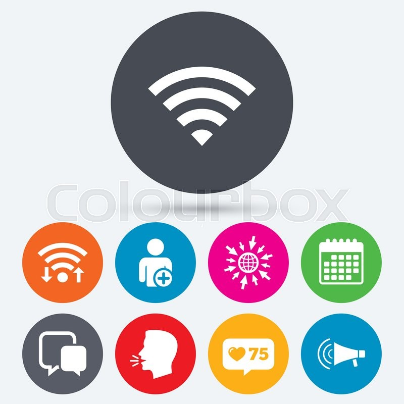 Wifi Like Counter And Calendar Icons Wifi And Chat Bubbles Icons