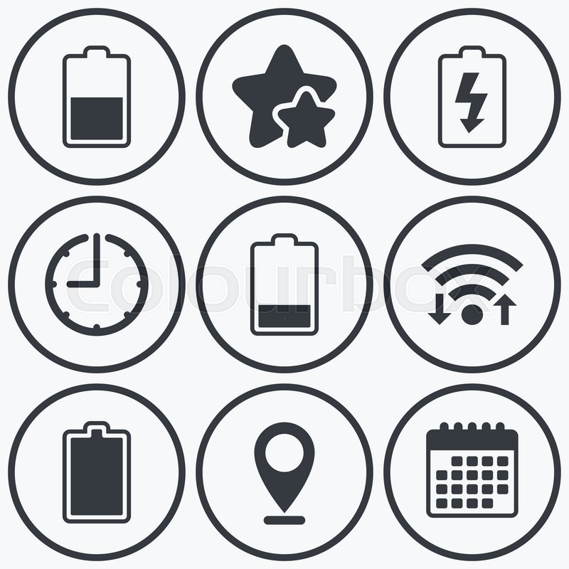 Clock, wifi and stars icons. Battery charging icons. Electricity ...