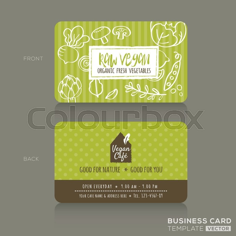 Organic foods shop or vegan cafe business card design template with organic foods shop or vegan cafe business card design template with vegetables and fruits doodle background stock vector colourbox reheart Gallery