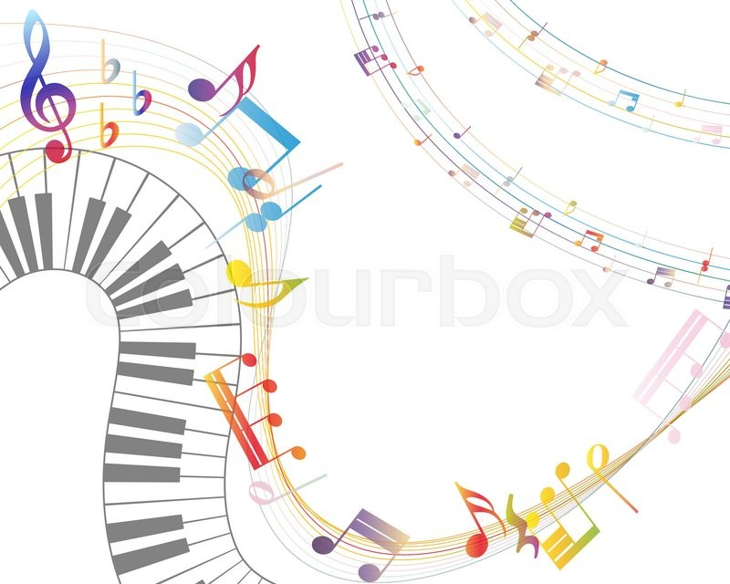 Musical Design Elements From Music Staff With Treble Clef Piano