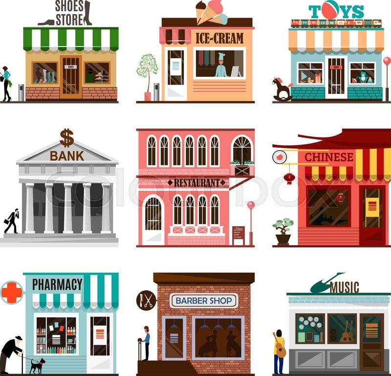 set of flat shop building facades icons vector illustration local market store design street. Black Bedroom Furniture Sets. Home Design Ideas