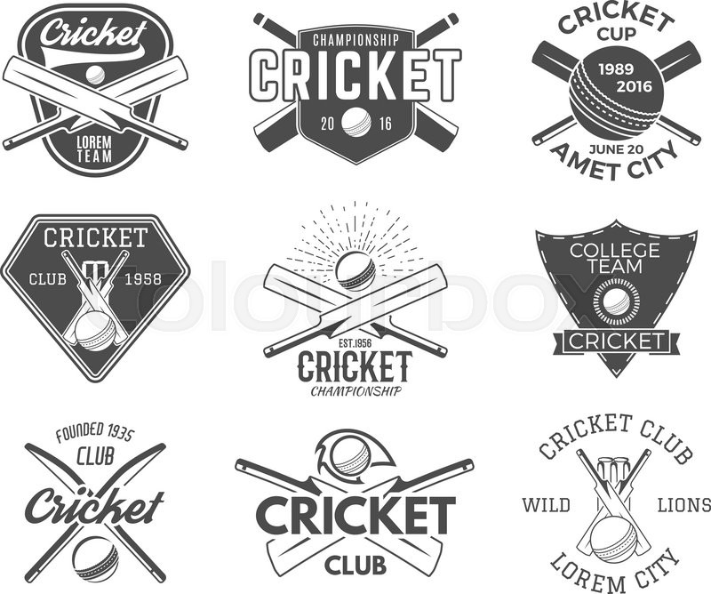 Set Of Cricket Sports Logo Designs Cricket Icons Vector Set