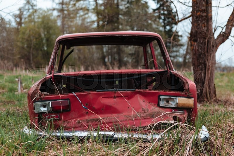 russian old broken car outdoors photo stock photo colourbox