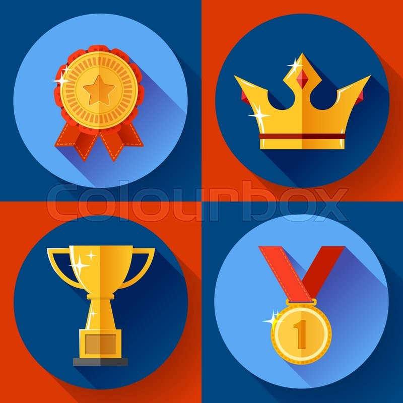 Icon set Golden symbols awarding and     | Stock vector | Colourbox