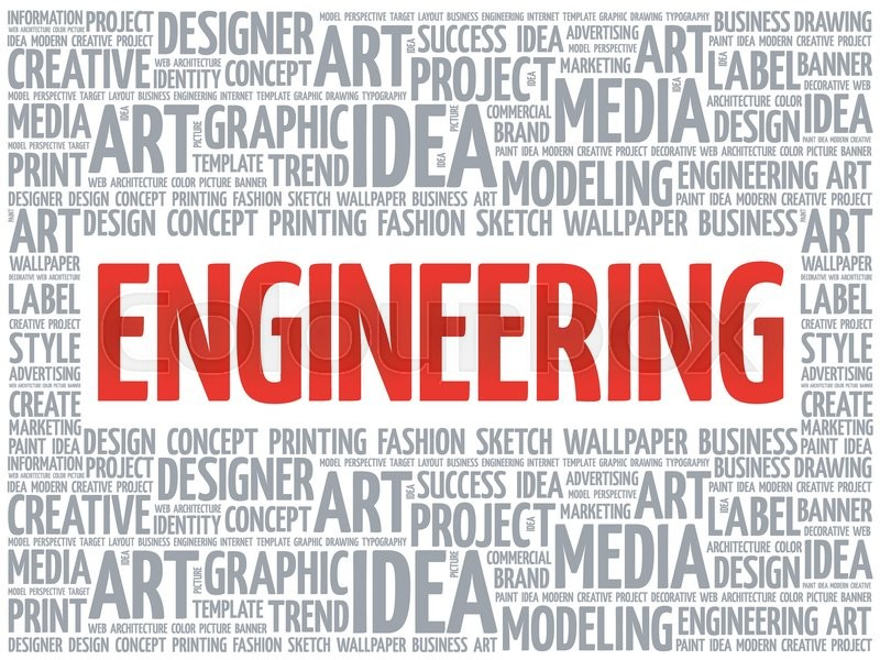 Engineering word cloud, creative business concept