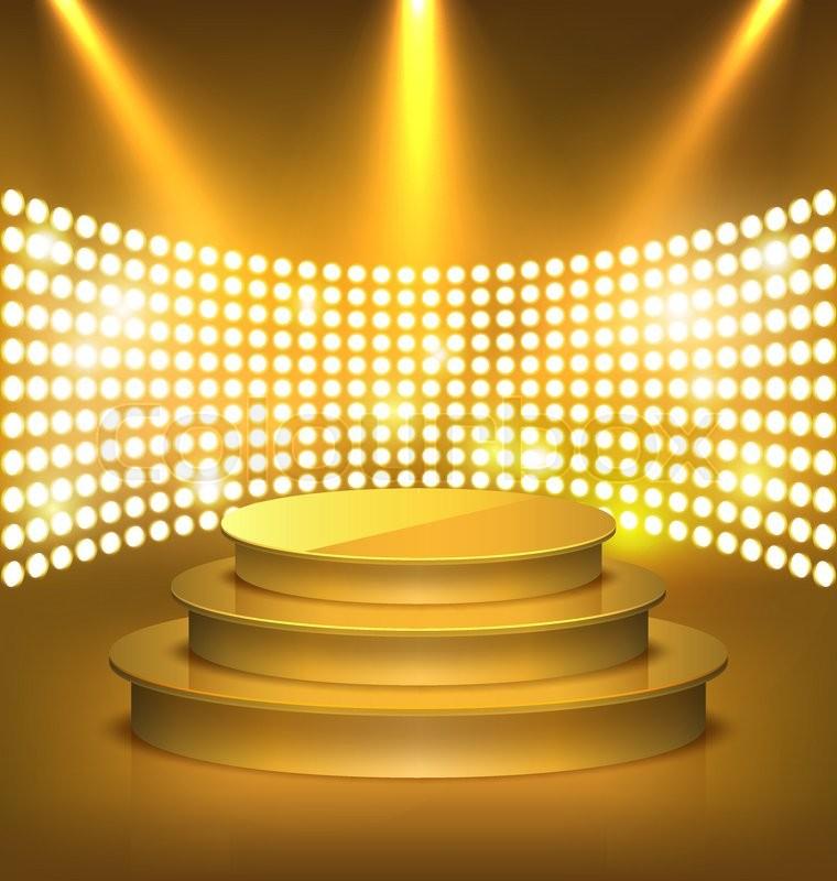 ОРАНЖЕВЫЙ ФОН 18828320-illuminated-festive-golden-premium-stage-podium-with-spot-lights-on-gold