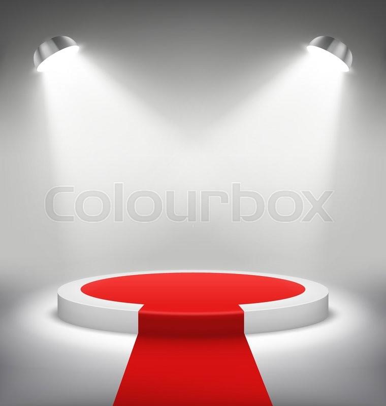 illuminated festive stage podium scene with red carpet for award