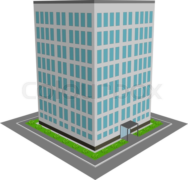 3d Office Building Flat Design Vector Illustration