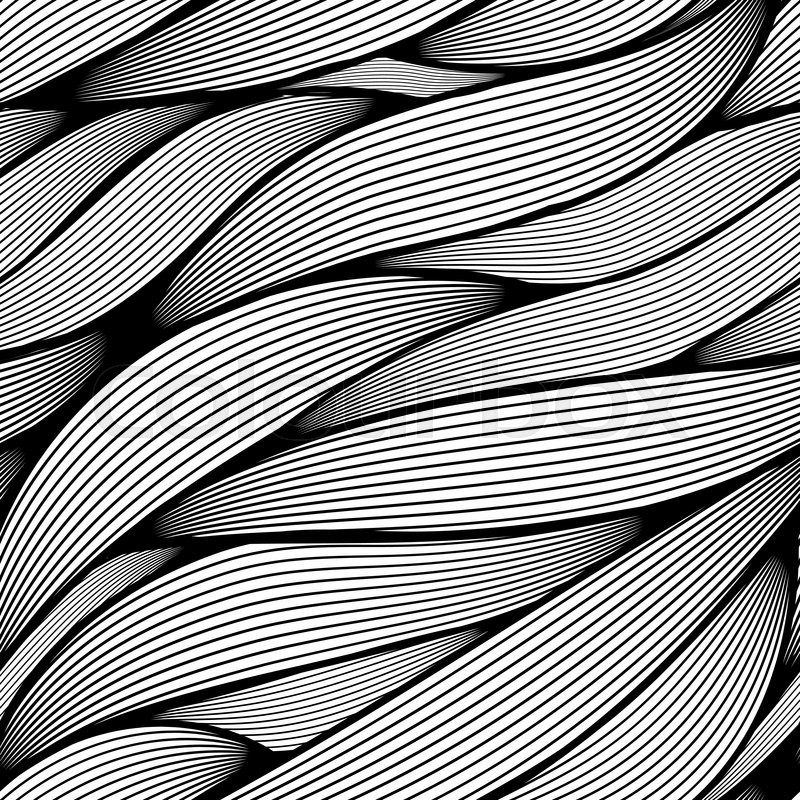 Seamless Black And White Wavy Line Leaves Vector Pattern Stock Cool Line Pattern Vector