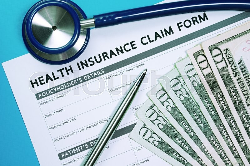 Health insurance claim form with money ...   Stock image ...