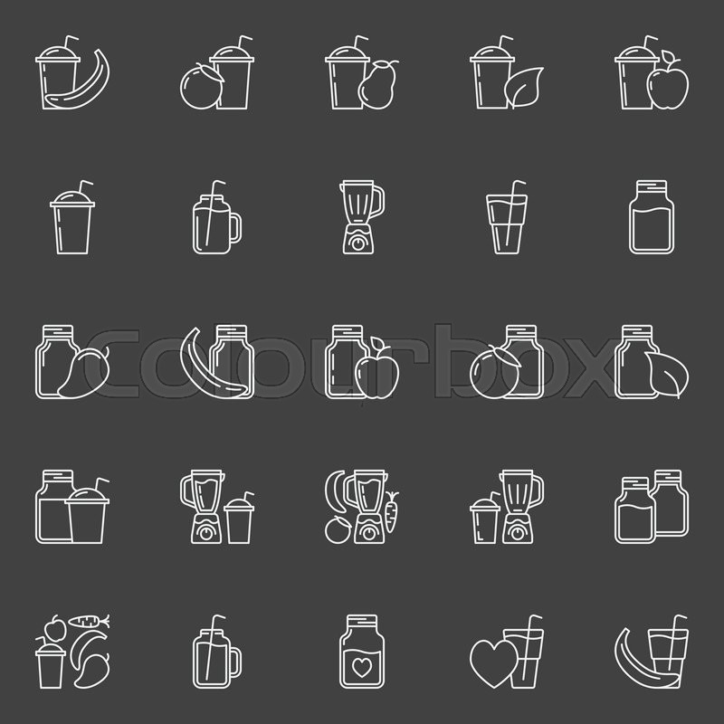 Smoothie outline icons - vector set of vegetarian drinks ...