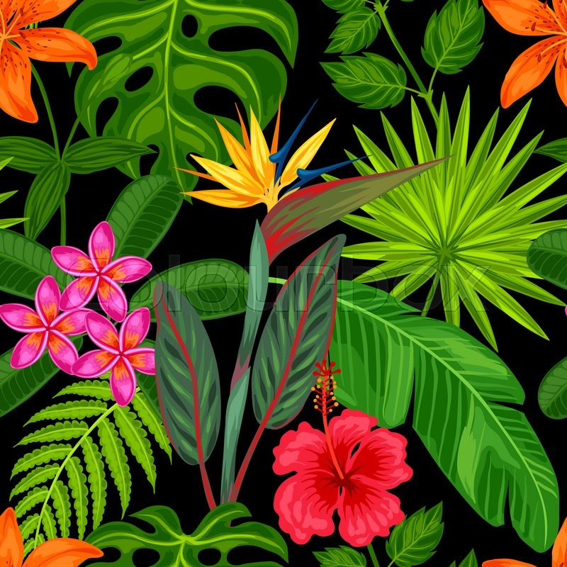 Seamless Pattern With Tropical Plants Leaves And Flowers