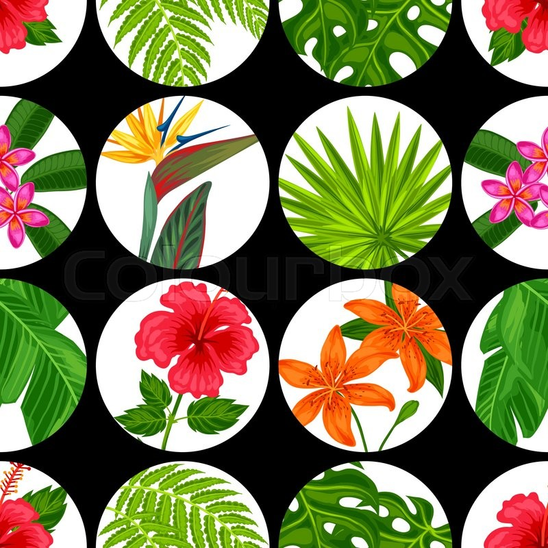 Seamless pattern with tropical plants leaves and flowers seamless pattern with tropical plants leaves and flowers background made without clipping mask easy to use for backdrop textile wrapping paper mightylinksfo