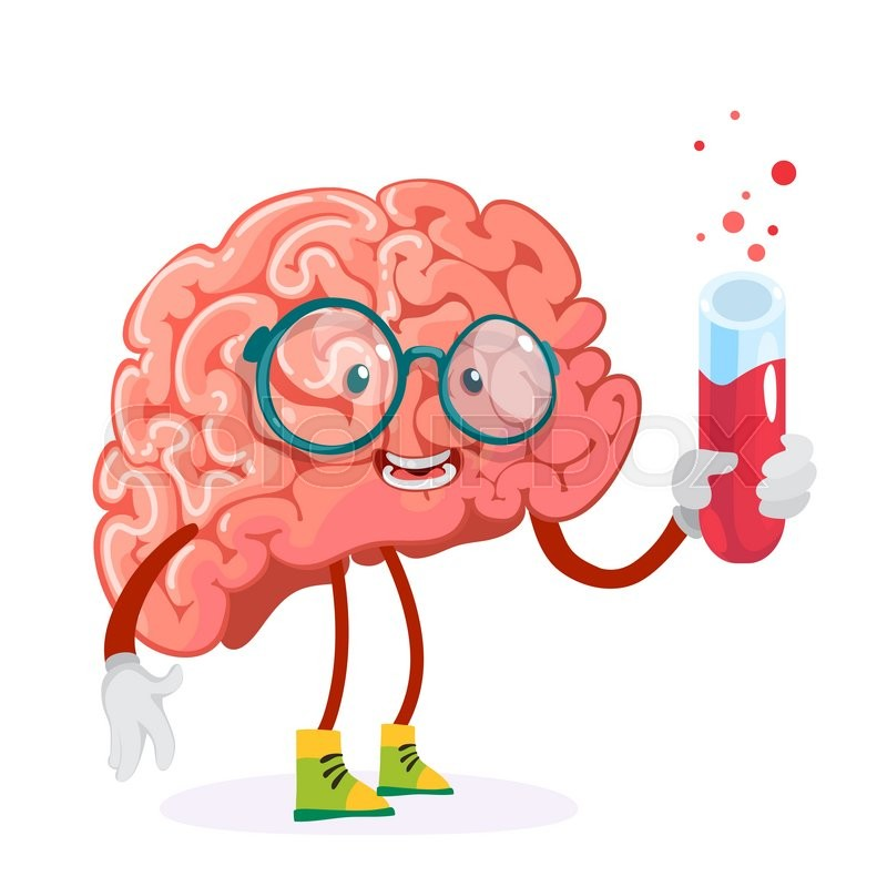 Cartoon Character Mascot Of The Brain In Glasses Holding A Test Tube With Red Liquid Stock Vector Colourbox