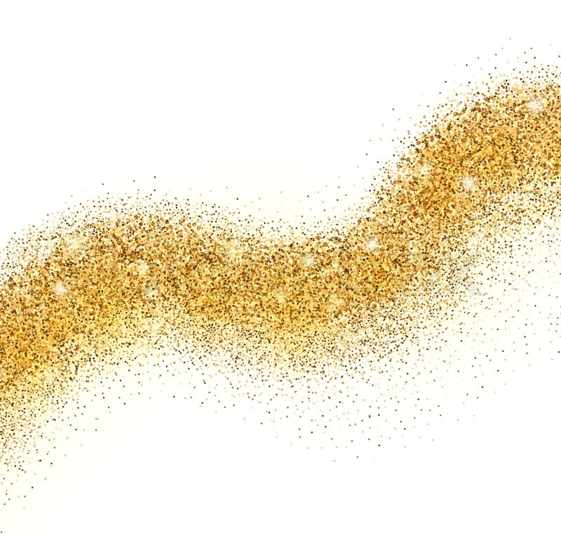 vector golden sparkling falling star with frame on white background