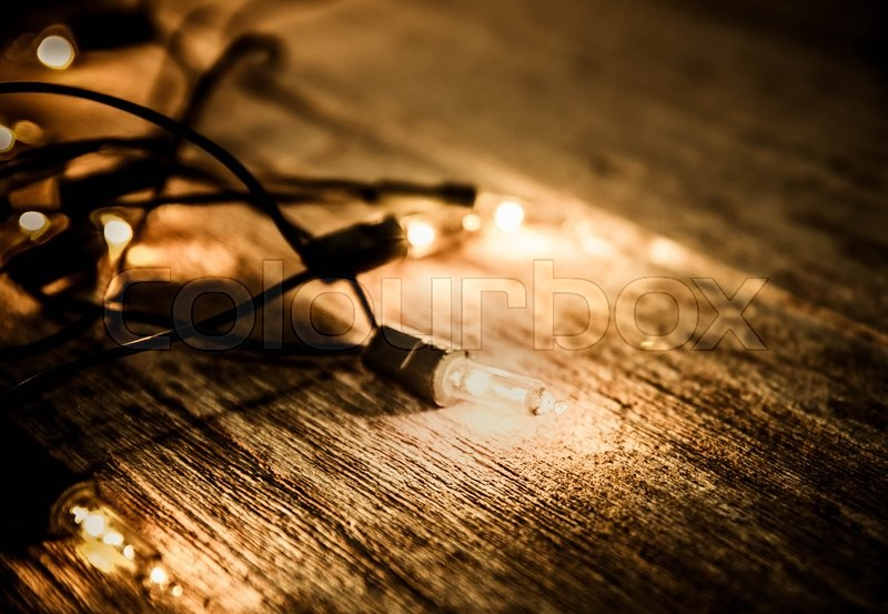 Christmas Light Decor On Wood Background Color Filter Vintage Tone