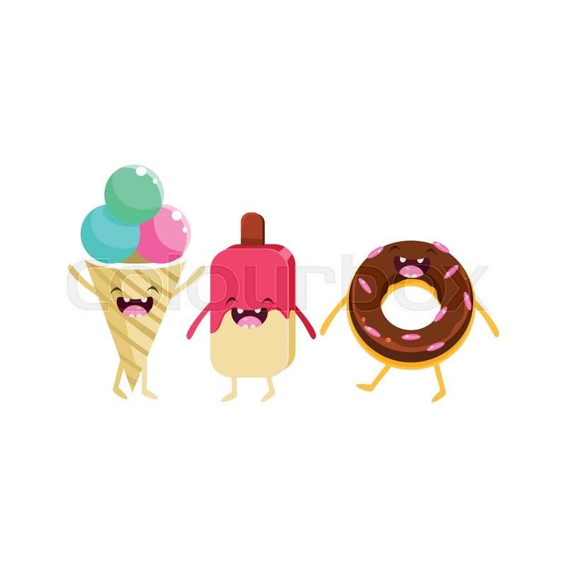 Ice Cream And Doughnut Cartoon Friends Colorful Funny Flat