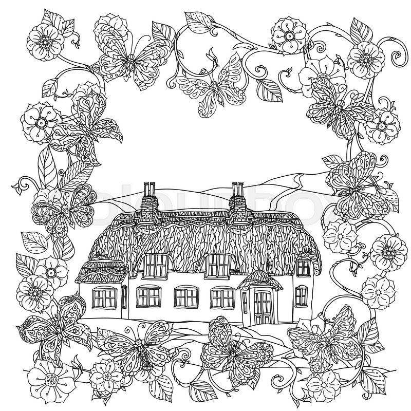 Black And White Flowers Frame Butterfly Victorian House Adult Coloring Book Zenart Style Hand Drawn Doodle Uncoloured The Best For Textiles