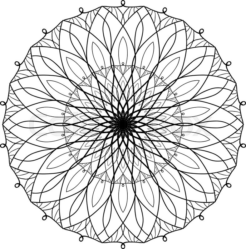 Vector Antistress Coloring Book With Geometric Mandala For Adults