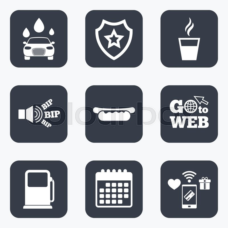 Mobile Payments Wifi And Calendar Icons Petrol Or Gas Station
