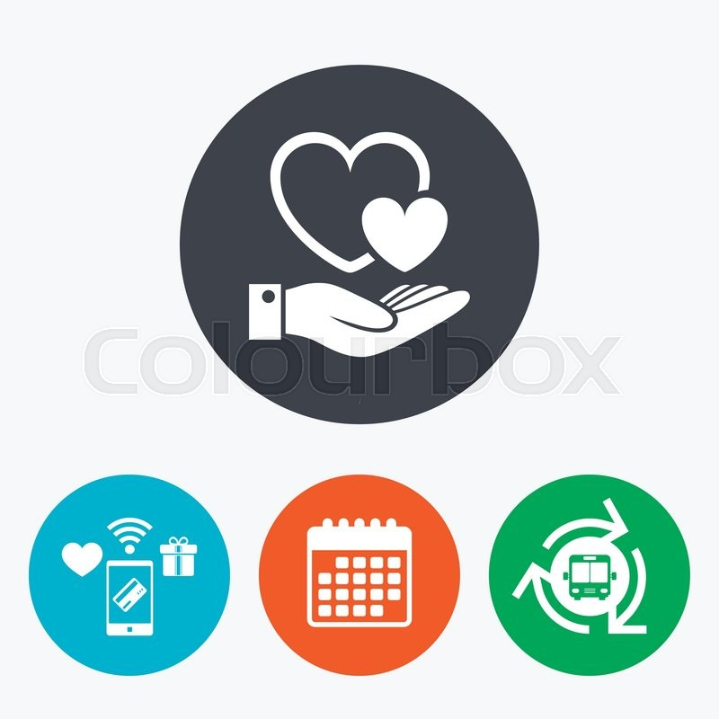 Hearts And Hand Sign Icon Palm Holds Love Symbol Mobile Payments