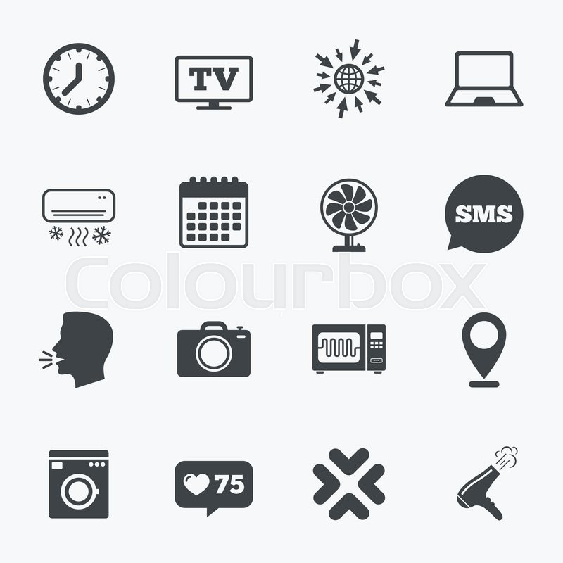 Calendar, go to web and like counter. Home appliances, device icons ...