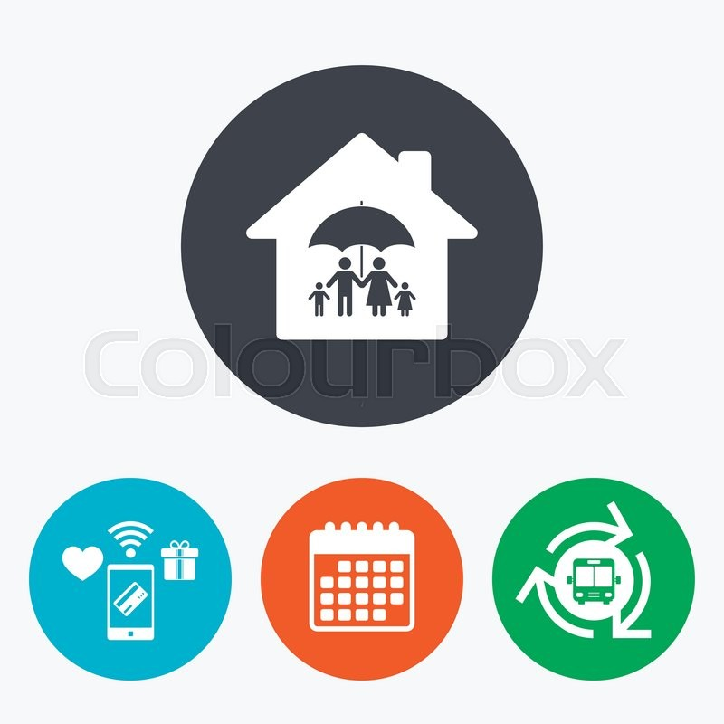 complete family home insurance sign icon umbrella symbol mobile payments calendar and wifi. Black Bedroom Furniture Sets. Home Design Ideas