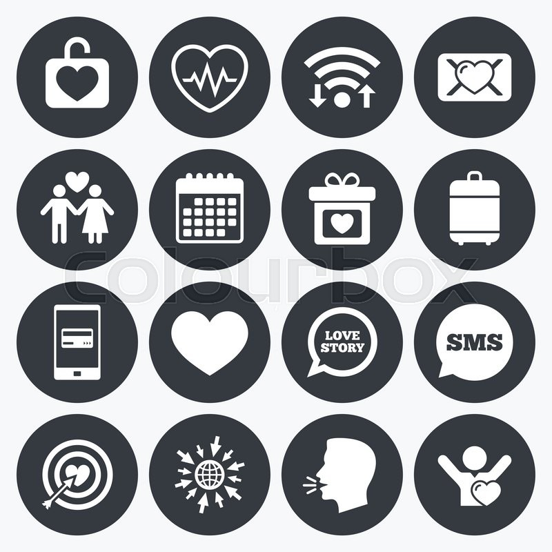 Wifi Calendar And Mobile Payments Love Valentine Day Icons
