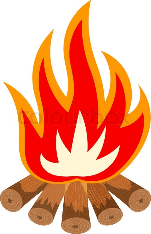 Cartoon illustration of a fire is not white. Bonfire ...