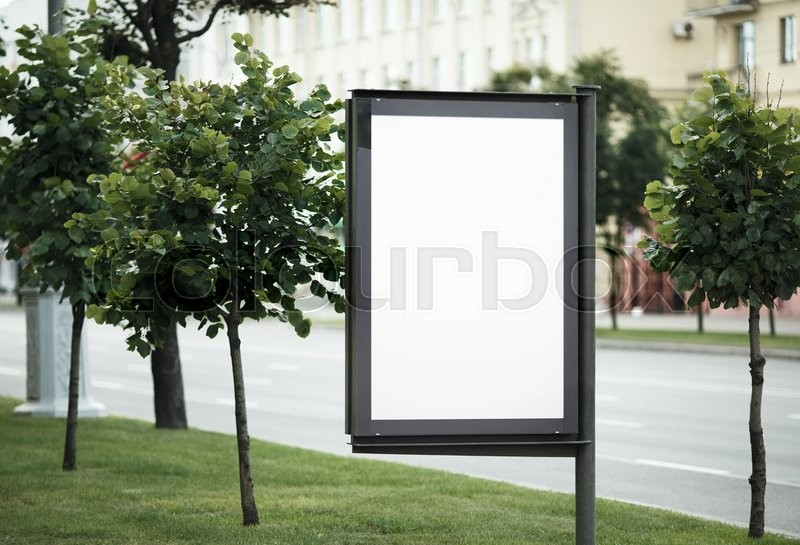 Blank street poster. Blank billboard on the city street. Isolated with clipping path. Shallow depth of field. Selective focus, stock photo