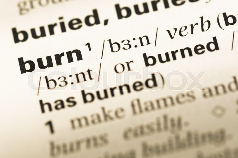 Close Up Of Old English Dictionary Page With Word Burn