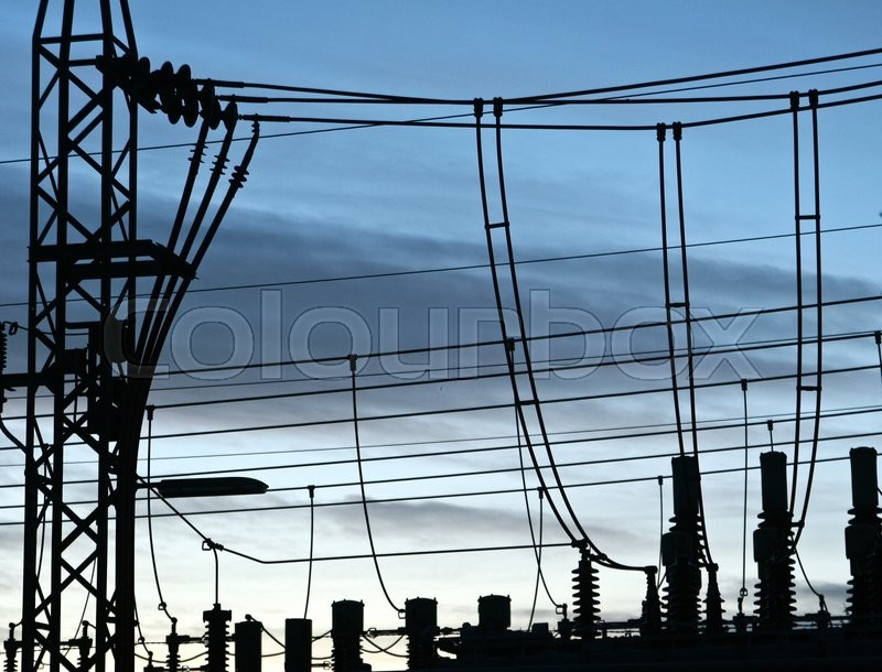 Electricity Substations transformer in Birkerød in denmark, wires at sunset, stock photo