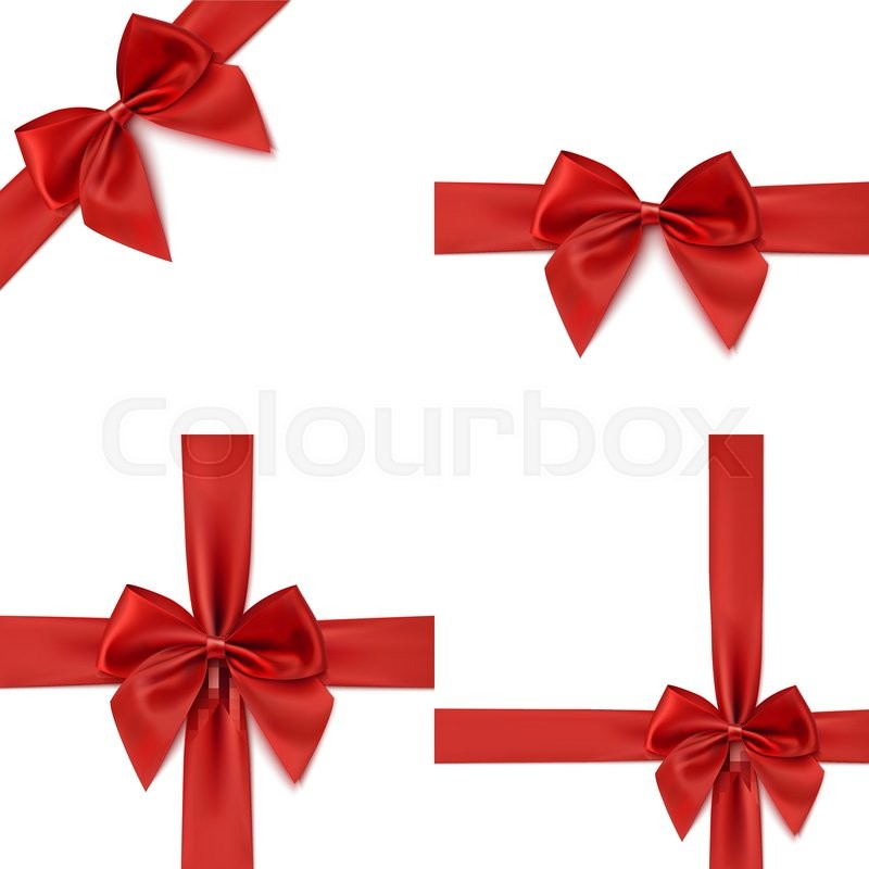 Set With Different Gift Wrapping Compositions Of Realistic Red Bow And Ribbon Isolated On White Background Ribbons Templates