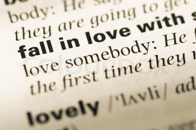 Close Up Of Old English Dictionary Page With Word Fall In Love With Stock Photo Colourbox