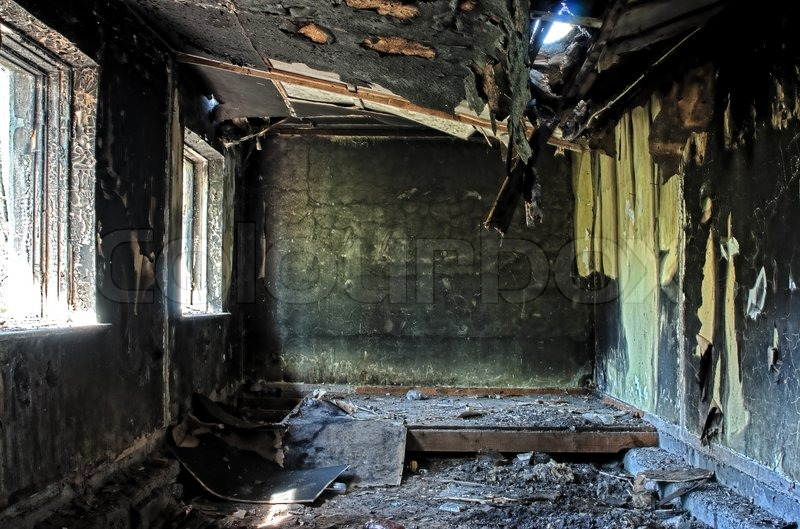 Old Abandoned Burned Out House Inside Stock Photo