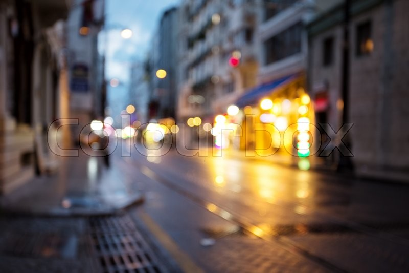 Night street with lights shot with blurred focus, stock photo