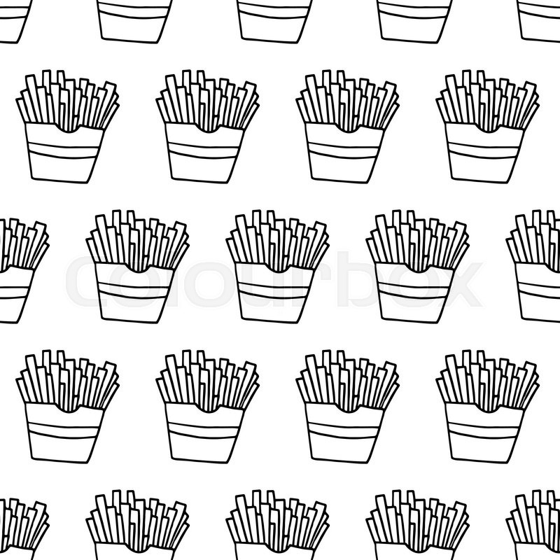 Trendy Fast Food Pattern With Hand Stock Vector