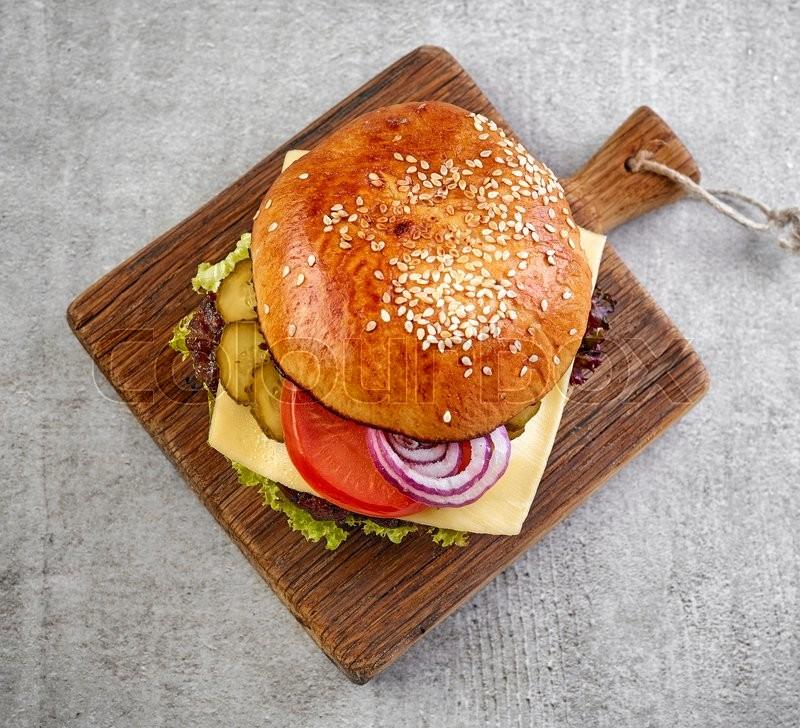 Classic cheeseburger , top view, stock photo