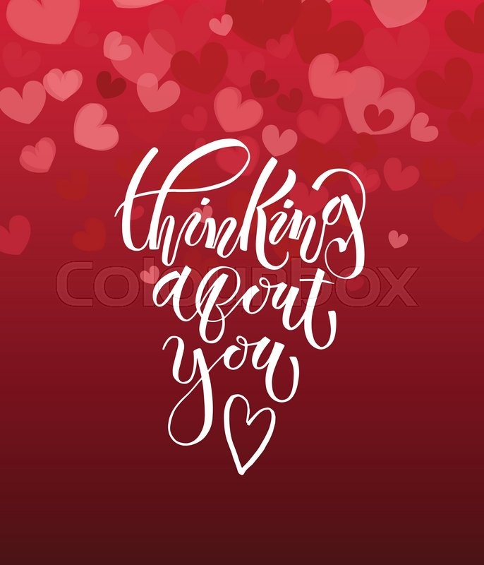 Thinking About You Text As Valentine S Stock Vector Colourbox