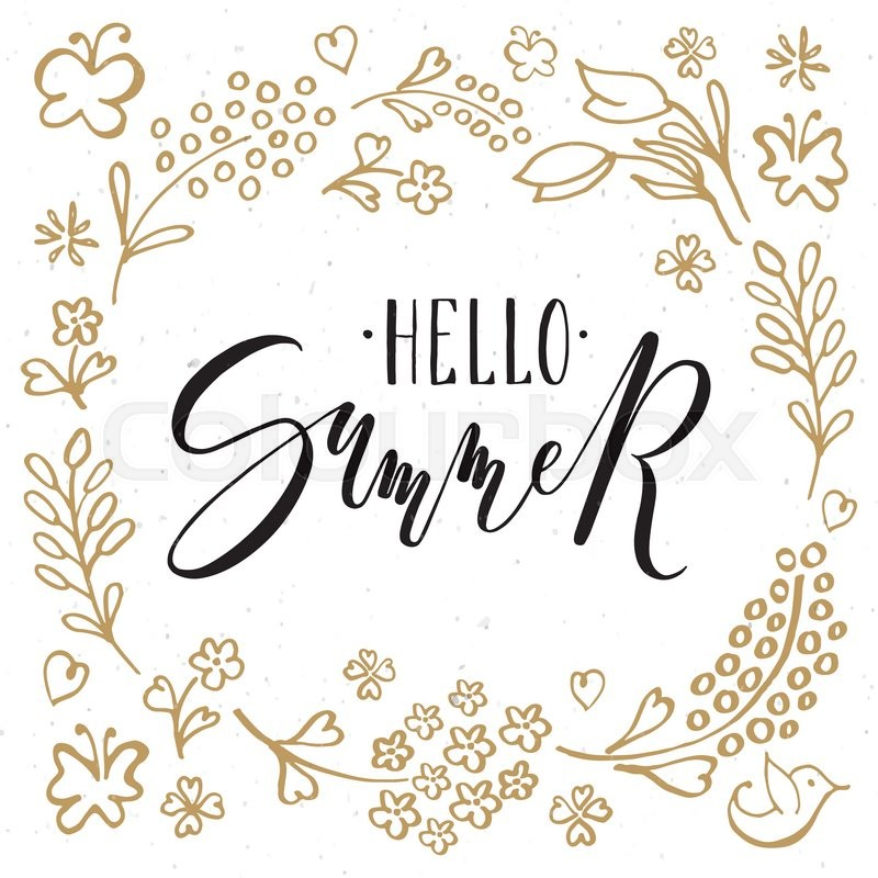 Hand sketched hello summer text as logotype badge and icon hello hello summer postcard card invitation flyer banner template hello summer lettering typography seasons greetings vector m4hsunfo