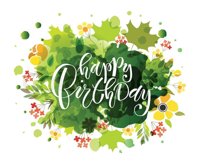 Hand sketched Happy Birthday text as Birthday logotype badge and – Happy Birthday Word Template