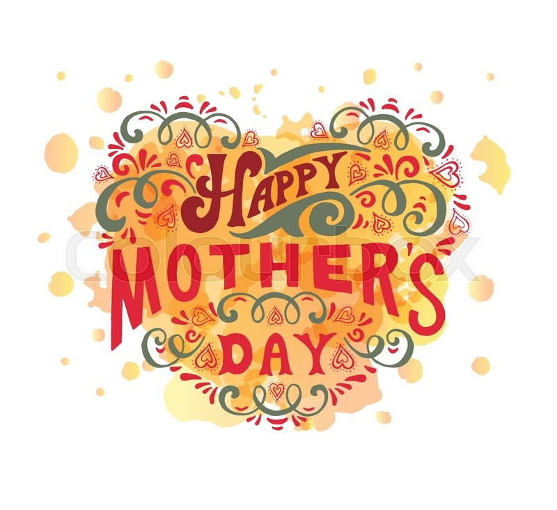 Happy Mothers Day Postcard Card Invitation Template Lettering Typography Banner Flyer Vector