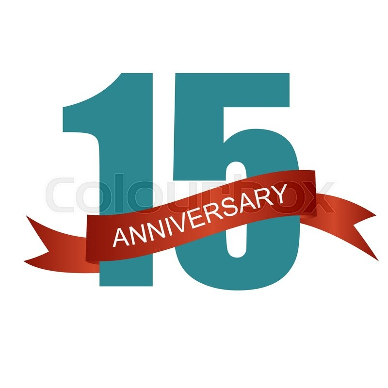 Fifteen 15 Years Anniversary Label Sign For Your Date Vector