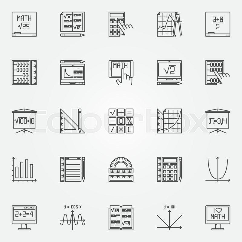 Math Icons Set Vector Linear Mathematics Symbols Or Algebra Signs