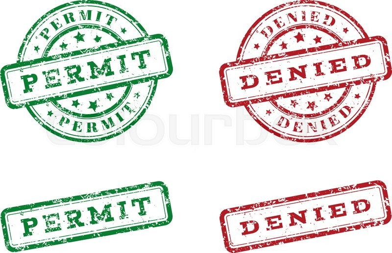 Green Permit Logo Stamp And Red Denied Grunge Style On White Background Vector Illustration Template For Web Design Infographics
