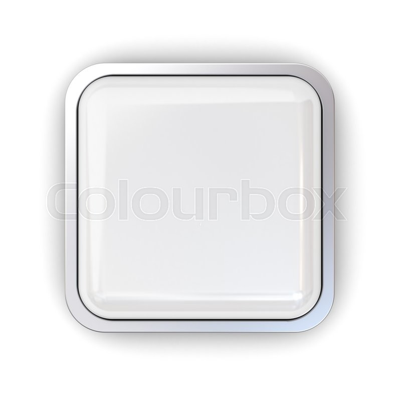 Blank 3d square button with chrome metal frame isolated over white ...