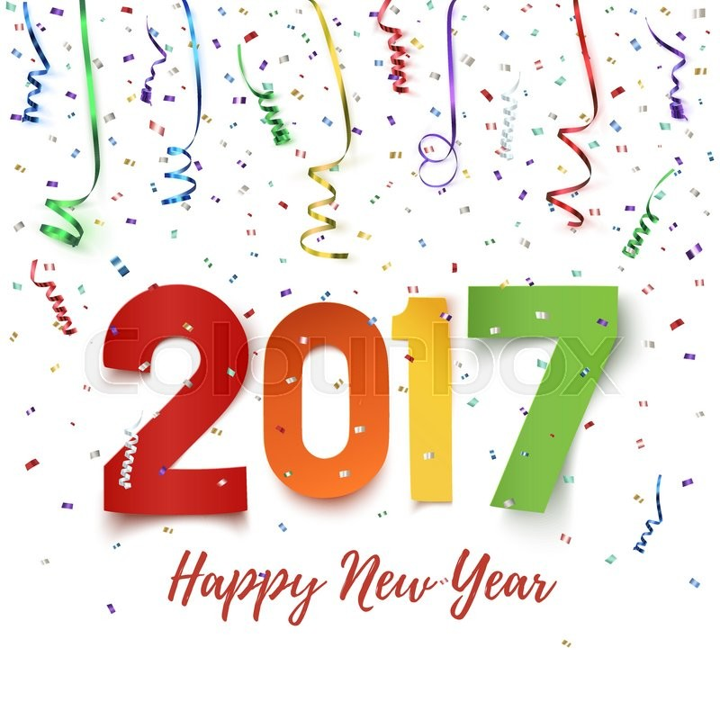 happy new year 2017 colorful paper typeface on background with ribbons and confetti on white happy new year greeting card template vector illustration